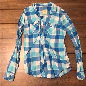 Blue plaid long sleeve button down shirt